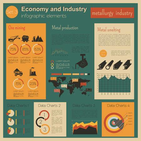 industria quimica: Economía e industria. Industria de la metalurgia. Plantilla infografía industrial. Ilustración vectorial Vectores