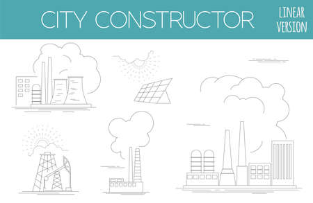 constructor: Great city map creator. House constructor. Infrastructure, industrial, transport. Outline version. Make your perfect city. Vector illustration
