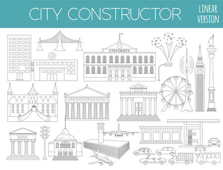 city icon: Great city map creator. Outline version. House constructor. House, cafe, restaurant, shop, infrastructure, industrial, transport, village and countryside. Make your perfect city. Vector illustration