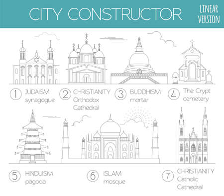 religious backgrounds: Big set City generator. House constructor. Religious buildings. Outline minimal icon version. Make your perfect city. Vector illustration Illustration