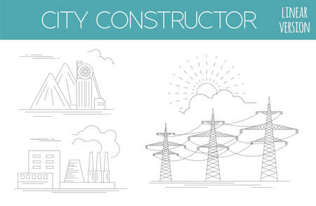 Great city map creator. House constructor. Infrastructure, industrial, transport. Outline version. Make your perfect city. Vector illustration