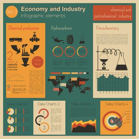industria petroquimica: Econom�a e industria. Industria qu�mica y petroqu�mica. Plantilla infograf�a industrial. Ilustraci�n vectorial