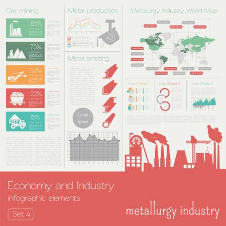 経済・産業。冶金産業。産業インフォ グラフィック テンプレート。ベクトル図