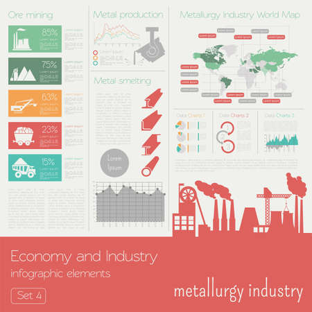 iron ore: Economy and industry. Metallurgy industry. Industrial infographic template. Vector illustration