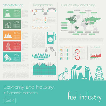 fuel economy: Economy and industry. Fuel industry. Industrial infographic template. Vector illustration