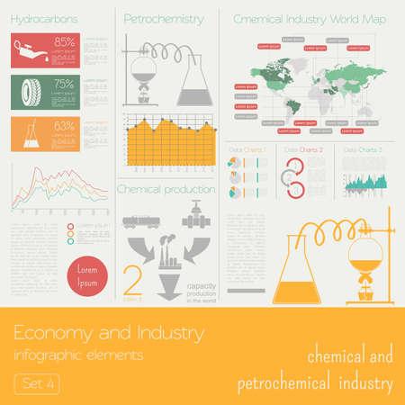 industria petroquimica: Economía e industria. Industria química y petroquímica. Plantilla infografía industrial. Ilustración vectorial