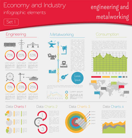 metalworking: Economy and industry. Engineering and metalworking. Industrial infographic template. Vector illustration