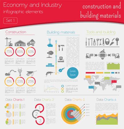 materiales de construccion: Economía e industria. Construcción y materiales de construcción. Plantilla infografía industrial. Ilustración vectorial Vectores