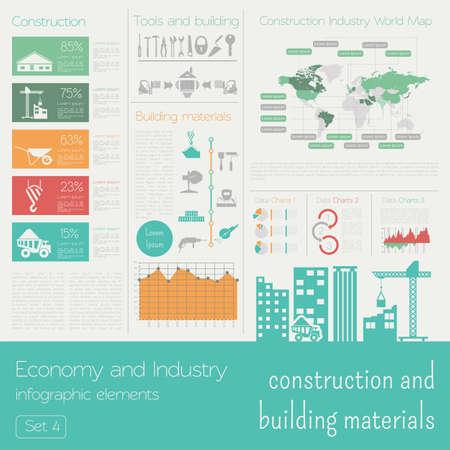 industriales: Economía e industria. Construcción y materiales de construcción. Plantilla infografía industrial. Ilustración vectorial Vectores