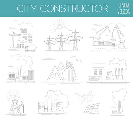 the creator: Great city map creator. House constructor. Infrastructure, industrial, transport. Outline version. Make your perfect city. Vector illustration