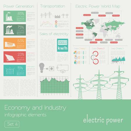 electricidad industrial: Econom�a e industria. Energia electrica. Electricidad. Plantilla infograf�a industrial. Ilustraci�n vectorial Vectores