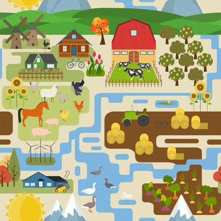 countryside: Great city map creator.Seamless pattern map. Village, farm, countryside, agriculture. Make your perfect city. Vector illustration Illustration