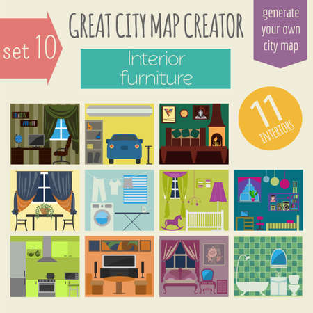 bedrooms: Great city map creator. House constructor.Interiors, furniture. Make your perfect city. Vector illustration