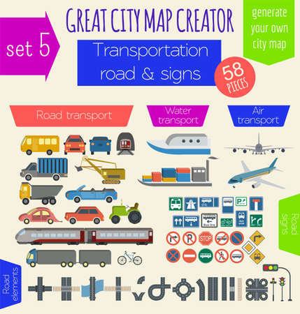 constructor: Great city map creator. House constructor. House, cafe, restaurant, shop, infrastructure, industrial, transport, village and countryside. Make your perfect city. Vector illustration