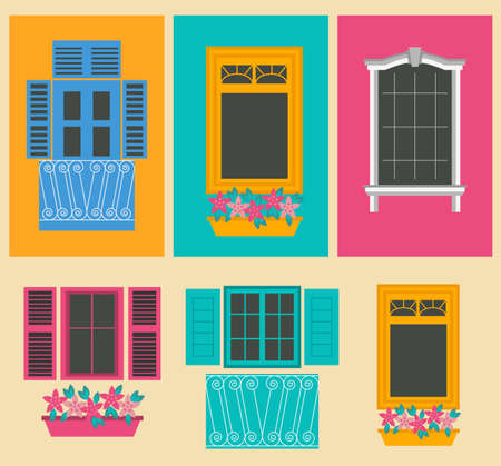 view window: Big set City generator. House constructor. Windows. Make your perfect city. Vector illustration