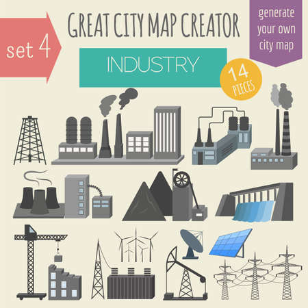 infrastructure: Great city map creator. House constructor. House, cafe, restaurant, shop, infrastructure, industrial, transport, village and countryside. Make your perfect city. Vector illustration