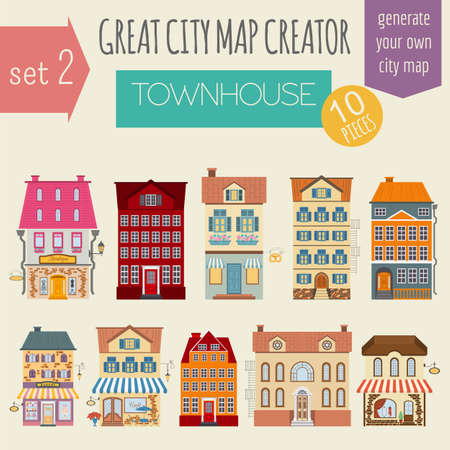 Great city map creator. House constructor. House, cafe, restaurant, shop, infrastructure, industrial, transport, village and countryside. Make your perfect city. Vector illustration