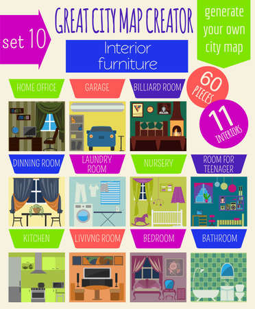 the creator: Great city map creator. House constructor.Interiors, furniture. Make your perfect city. Vector illustration