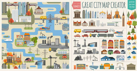 Great city map creator.Seamless pattern map and  Houses, infrastructure, industrial, transport, village and countryside set. Make your perfect city. Vector illustration Vectores