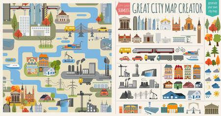 transport: Stora stadskarta creator.Seamless mönster karta och hus, infrastruktur, industri, transport, byn och landsbygden set. Gör din perfekta staden. Vektor illustration