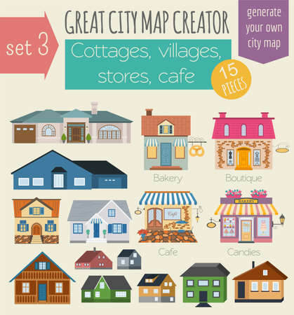 village house: Great city map creator. House constructor. House, cafe, restaurant, shop, infrastructure, industrial, transport, village and countryside. Make your perfect city. Vector illustration