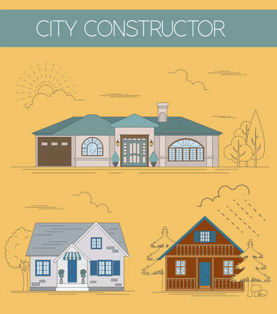 the creator: Great city map creator. Colour version. House constructor. House, cafe, restaurant, shop, infrastructure, industrial, transport, village and countryside. Make your perfect city. Vector illustration Illustration