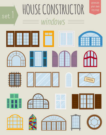 windows and doors: Big set City generator. House constructor. Windows. Make your perfect city. Vector illustration