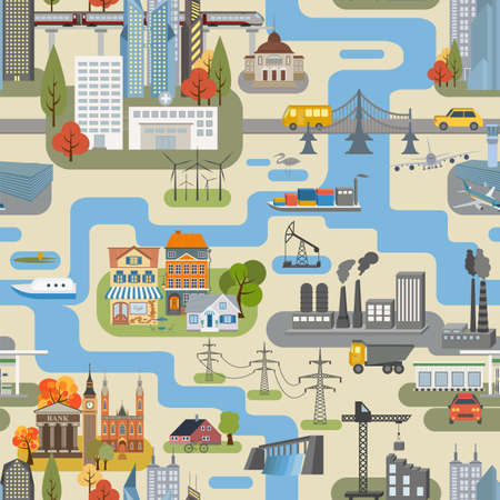 Great city map creator.Seamless pattern map. Houses, infrastructure, industrial, transport, village and countryside. Make your perfect city. Vector illustration Vettoriali