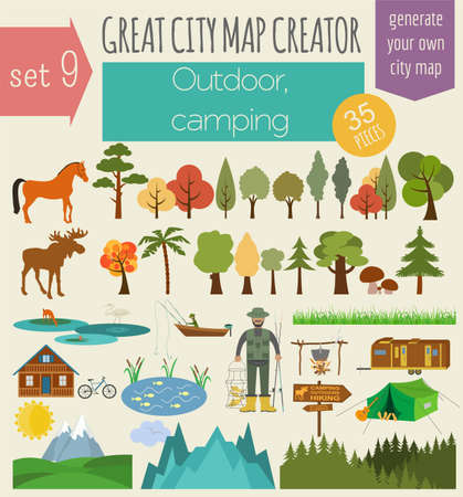 countryside landscape: Great city map creator. House constructor. House, cafe, restaurant, shop, infrastructure, industrial, transport, village and countryside. Make your perfect city. Vector illustration