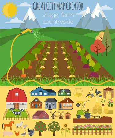 granja: Gran mapa de la ciudad creador. Pueblo, granja, campo, agricultura. Haga su ciudad perfecta. Ilustración vectorial