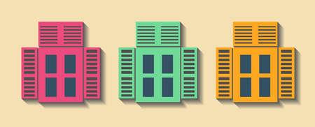 constructor: Big set City generator. House constructor. Windows. Make your perfect city. Vector illustration