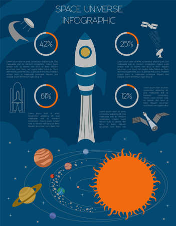 space shuttle: Space, universe graphic design. Infographic template. Vector illustration