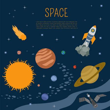 universe: Space, universe graphic design. Infographic template. Vector illustration