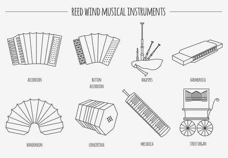 gaita: Instrumentos musicales plantilla gráfica. Viento Reed. Ilustración vectorial Vectores