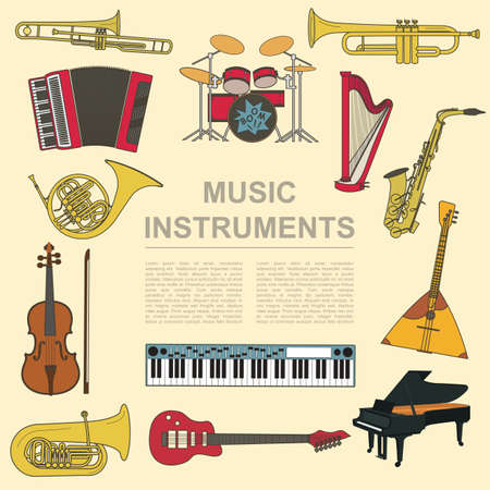 electronica musica: Instrumentos musicales plantilla gráfica. Todos los tipos de instrumentos musicales infografía. Ilustración vectorial Vectores