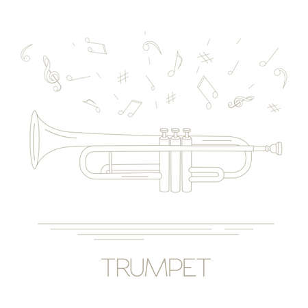 aerophone: Musical instruments graphic template. Trumpet. Vector illustration Illustration