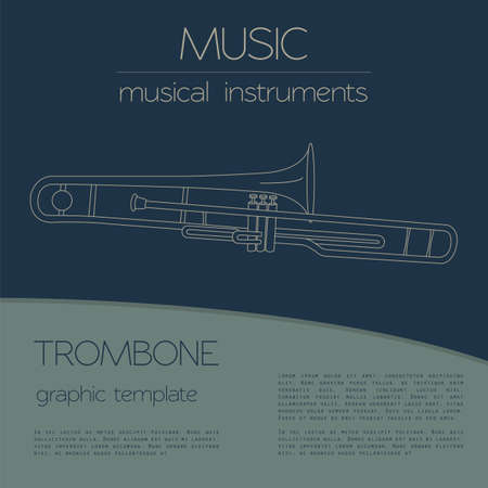 Musical instruments graphic template. Trombone. Vector illustration