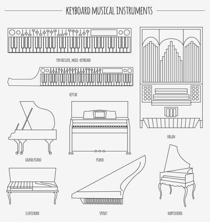 Musical instruments graphic template. Keyboard. Vector illustration