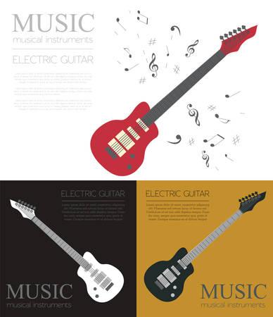 instrumentos de musica: Instrumentos musicales plantilla gráfica. Guitarra eléctrica. Ilustración vectorial