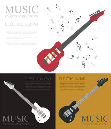 musical instrument symbol: Musical instruments graphic template. Electric guitar. Vector illustration
