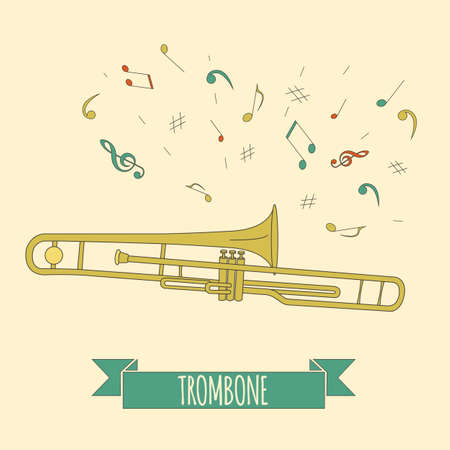 aerophone: Musical instruments graphic template. Trombone. Vector illustration