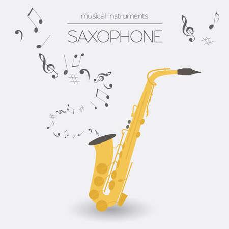 saxofón: Instrumentos musicales plantilla gráfica. Saxofón. Ilustración vectorial Vectores