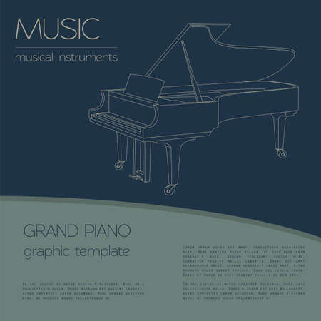 piano: Instrumentos musicales plantilla gráfica. Piano de cola. Ilustración vectorial