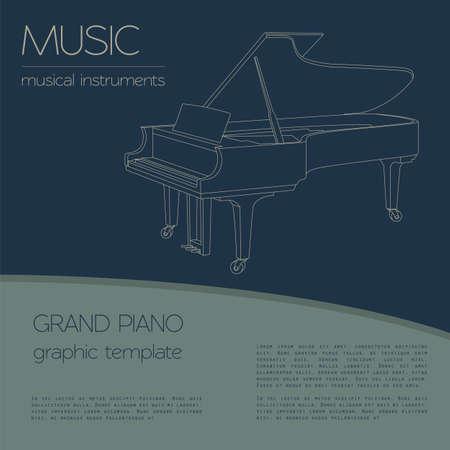 fortepian: Instrumenty muzyczne szablonu graficznego. Fortepian. ilustracji wektorowych