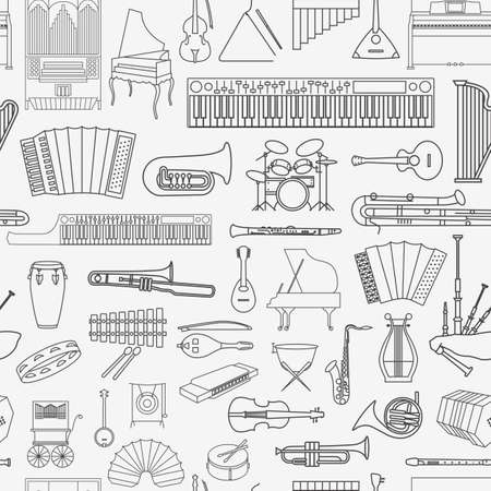 concert flute: Musical instruments seamless pattern. Vector illustration