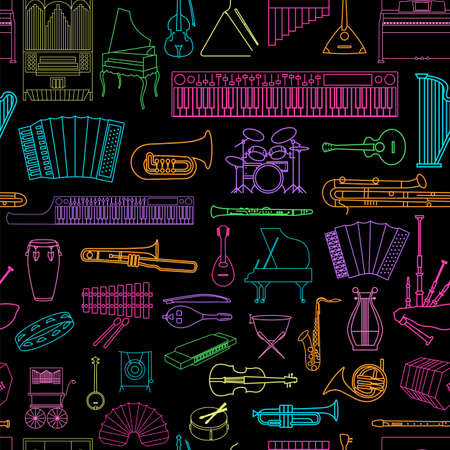icon collection: Musical instruments seamless pattern. Vector illustration