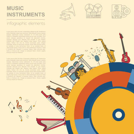 wind instrument: Musical instruments graphic template. All types of musical instruments infographic. Vector illustration Illustration