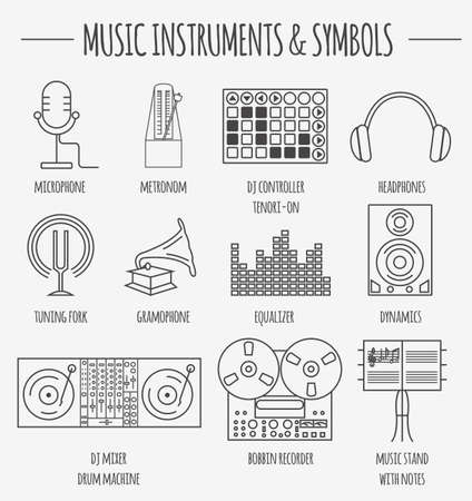 tuning fork: Musical instruments & symbols graphic template. Vector illustration