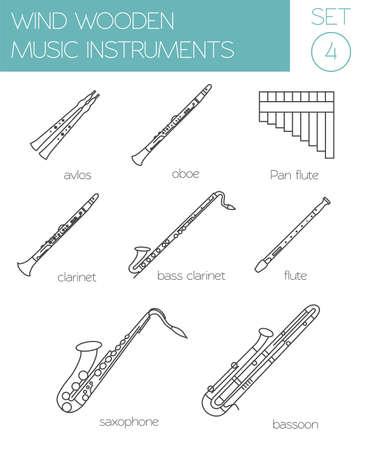 fagot: Instrumenty muzyczne szablonu graficznego. Wiatr drewniane. ilustracji wektorowych