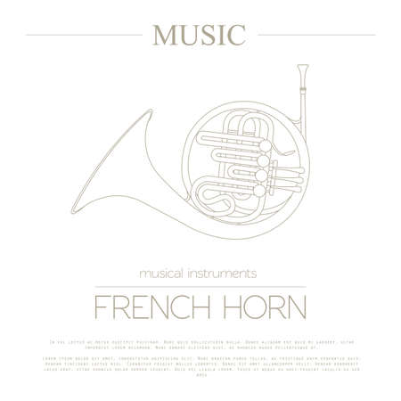 french horn: Musical instruments graphic template. French horn. Vector illustration